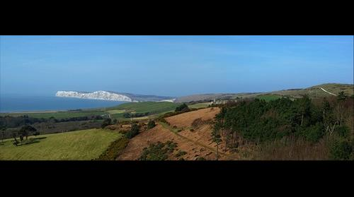 Panorama from the side of Mottistone Common to West High Down & Tennyson Down