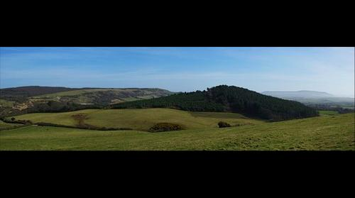 Panorama across Grammar's Common to Brighstone Forest, Brighstone Down & St Catherine's Hill