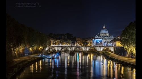 Vatican St Peter basilica at night. HDR