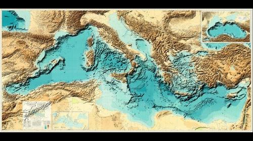 Bathymetry of Mediterranean sea