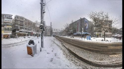 Snow in Istanbul - 01 Saskınbakkal - Bagdat Street  HDR Panorama