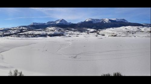Frozen lake in Rocky Mountains, CO