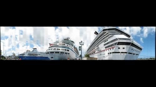 3 cruise ships at the pier in Nassau, Bahamas
