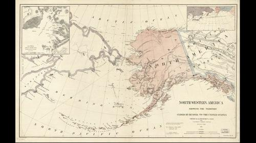 Northwestern America showing the territory ceded by Russia to the United States