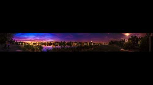 Sunset at Full Moon, Vienna, Alte Donau, Austria, Summer, 2017, Panorama