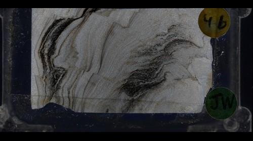"Dismembered, Folded Sandstone (""Ploudin"") from Corridor H, WV, Crossed Polars"