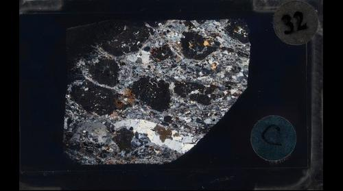 Sillimanite in Sillimanite-Garnet Gneiss, Crossed Polars