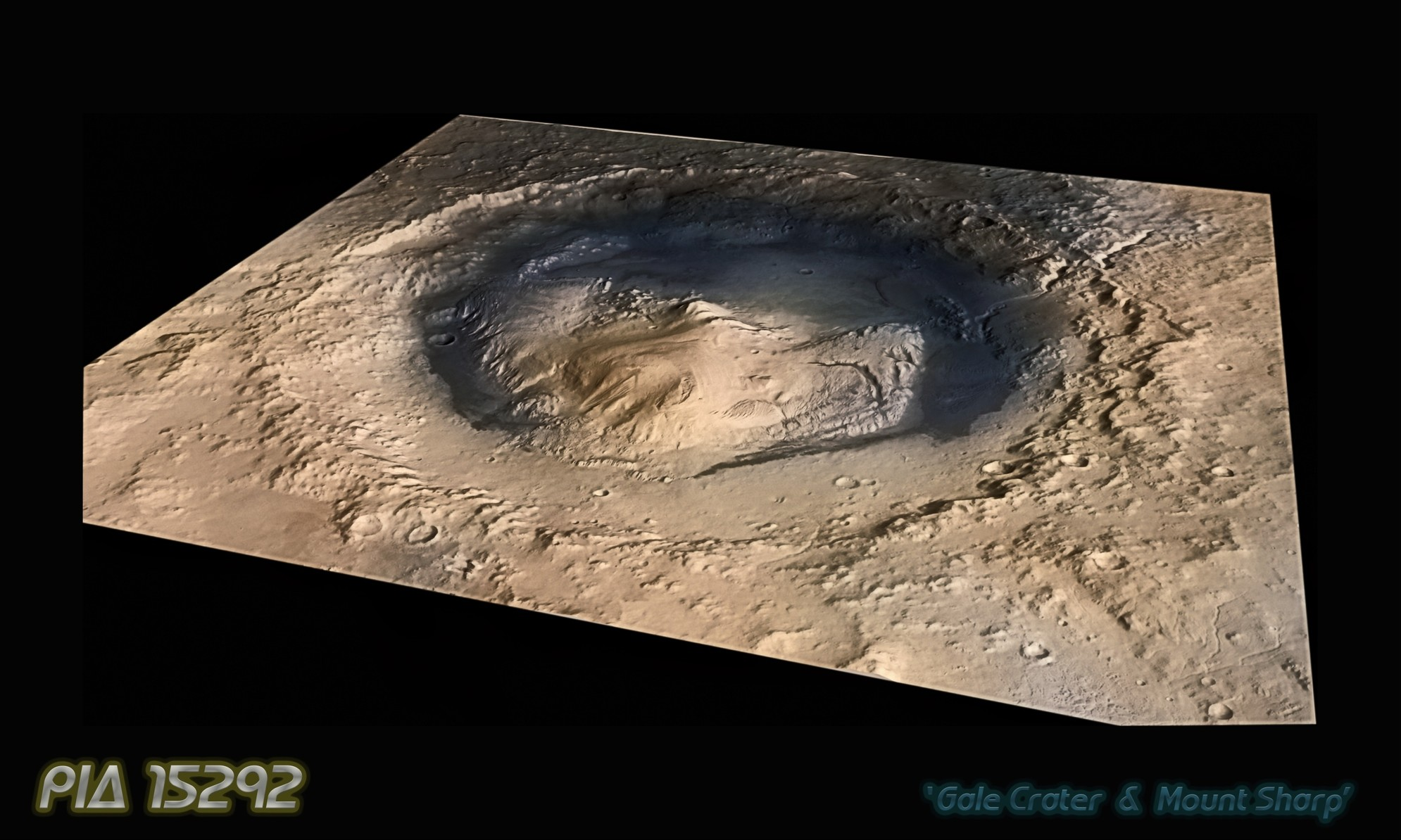 PIA 15292 - 'Mount Sharp' Inside Gale Crater (Oblique view)
