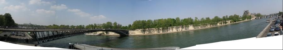 Seine panorama on left bank looking west to the Pont Solferino, Paris, France