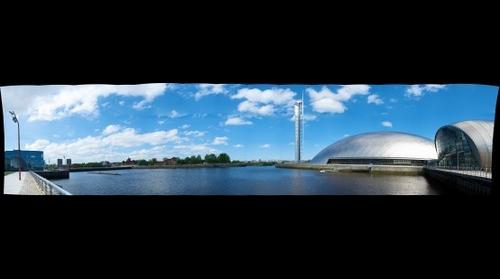 Panoramic view of Science Tower and Science Museum - Glasgow
