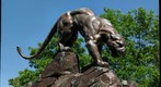 bronze panther on bridge pier looking over Panther Hollow, Pittsburgh