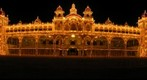Mysore Palace featuring Sunday/Dasara lighting, frontal view detail