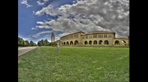 Stanford University's Hoover Tower, Main Quad and Pia