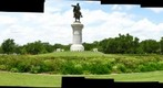 Houston, Texas: Luck in Hermann Park - Park Train - Sam Houston Statue - Metro Train &amp; Jet Aircraft Entering Flight Path to Hobby Airport