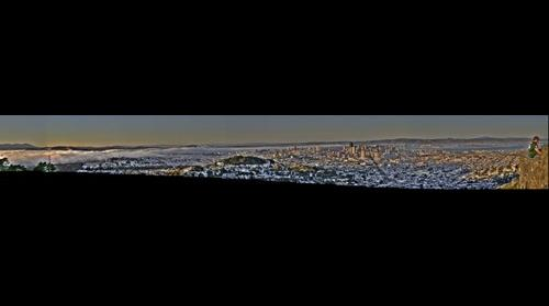 Sunset over Downtown San Francisco from Twin Peaks