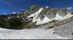 Hiking to Hochschwab, Styria, Austria - crossing a snowfield