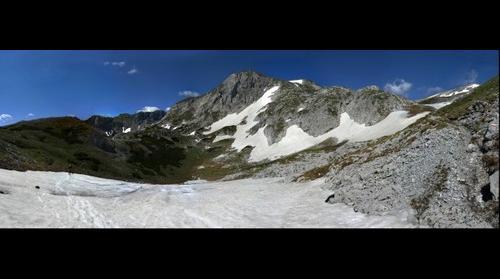 Hiking to Hochschwab, Styria, Austria - crossing a snowfield