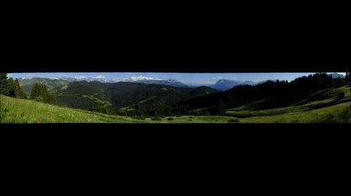 Les Gets, Chaine du Mont-Blanc depuis Mont-Caly avec le Pré