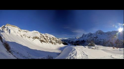 Panoramic from Switzerland, top of Birg Mountain, Jungfrau Region