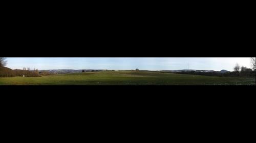 "Landscape from hill ""Sauwasen"" near Islandic horse ranch ""Bucherbach"" near Puettlingen, Saarland, Germany"