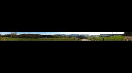 "View from Islandic horse ranch ""Bucherbach"" on Koellerbach near Puettlingen, Saarland, Germany"