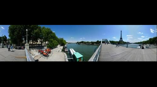 Eiffel Tower and River Seine from the Passerelle Debilly Bridge