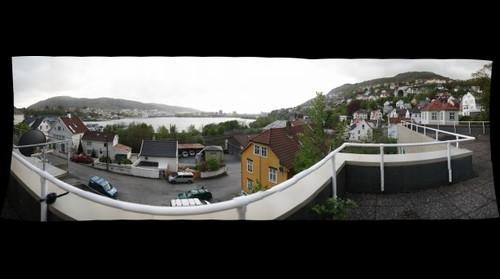 Panorama of Bergen skyline seen from Fløen