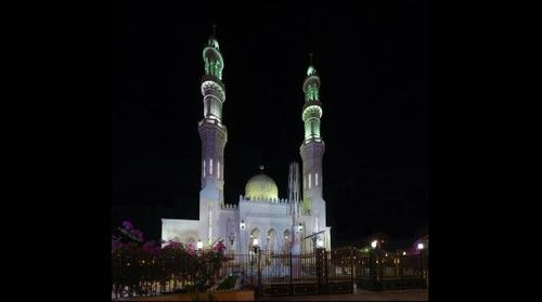 Downtown Mosque in Hurghada, Egypt lit up at night