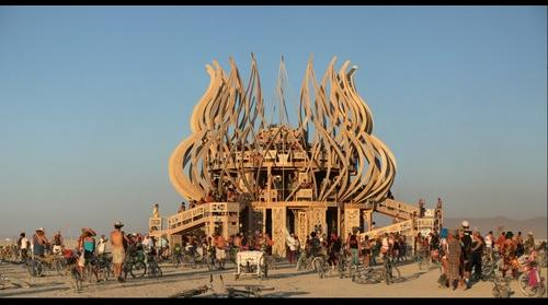 Burning Man Temple 2009 at sunset