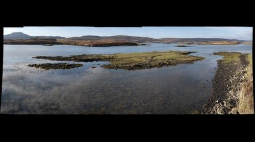 Dunvegan Bay, View SW over Gairbh Eilein Island towards Macleod's Table (North)