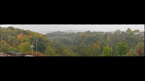 Pittsburgh bridge in the rain