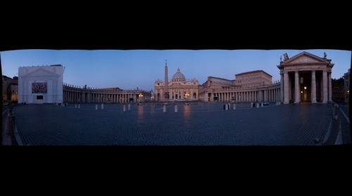 Saint Peter's Basilica and Square at twilight
