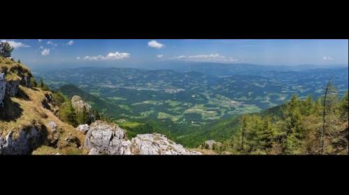 Panoramic view from Uršlja gora (Plešivec) Slovenia - Slovenj Gradec, Ravne na Koroškem, Prevalje... and Austria bedhind...