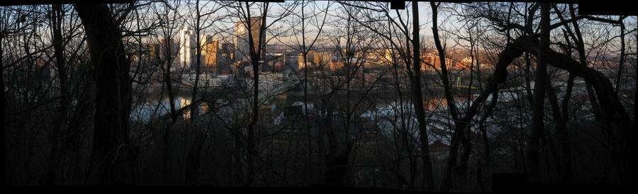 Downtown Pittsburgh from Grandview Park, through the trees