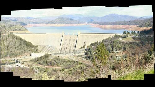 Shasta dam on a bright day