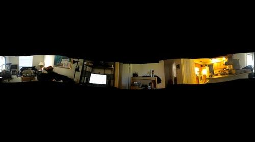 Panorama of Junk in a friends Family Room
