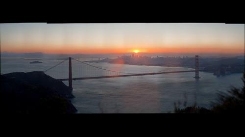 Sun rise on San Francisco Downtown, Golden Gate, California, CA