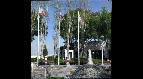 Flags and Fountain