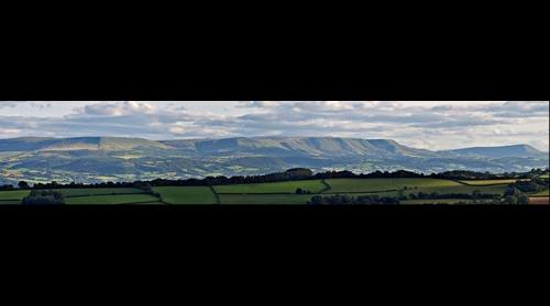 View of Black Mountains in Wales from Offa's Dyke