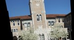 Hand-Held Panorama of Keck Hall Tower on a Blue-Sky February Day
