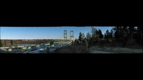 Tacoma Narrows Bridge & beautiful Mount Rainier in the distance.