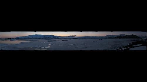 From atop a moraine on the southeast edge of Jökulsárlón