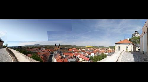 Centre of city Trencin from Marianske namestie