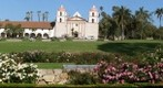100502 Santa Barbara Mission zoom from Plaza Rubio and rose garden upper side