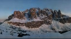 Panorama Gruppo Sella in Dolomiti at sunset