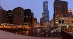 Chicago - View from Columbus Bridge at Dusk