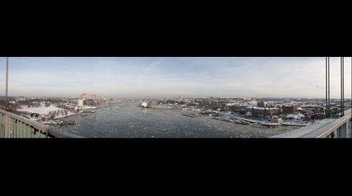 Panorama of Gothenburg Harbor from Alvsborgsbron bridge