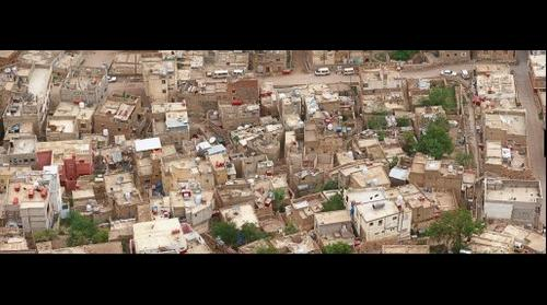 Look at the roof of houses in the city of Taiz - Yemen