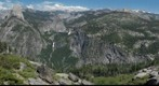Looking up the Merced Canyon at Nevada and Vernal Falls and the Clark Range from Washburn Point: Yosemite National Park