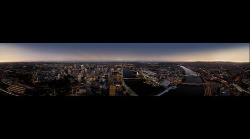 Brisbane Night Aerial Panorama from a helicopter